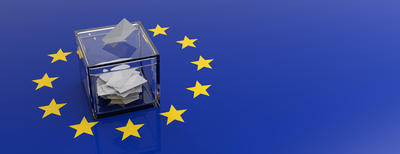 Bild vergrößern: European Union parliament election concept. Voting box on EU flag background. 3d illustration